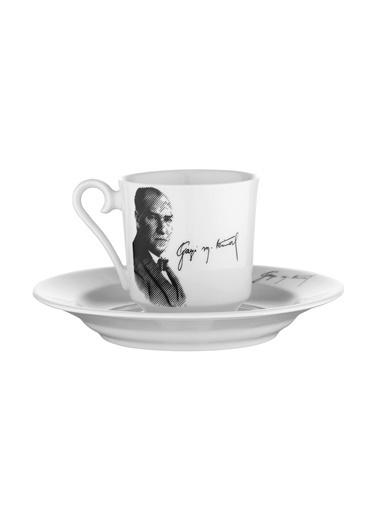 Kütahya Porselen Atatürk Kahve Takımı 10429 Renkli